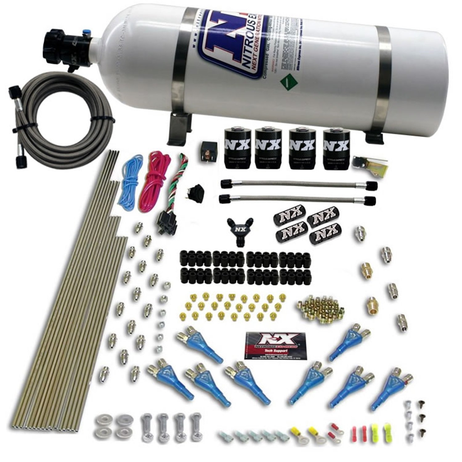 Nitrous Express 90006-15 200-600 HP 8-Cylinder Gasoline Shark Direct Port System with 4 Solenoids and 15 lbs. Bottle