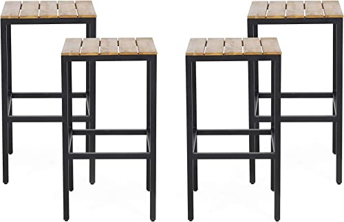 Christopher Knight Home 313204 Frieda Outdoor Modern Industrial Acacia Wood Bar Stools Set of 4