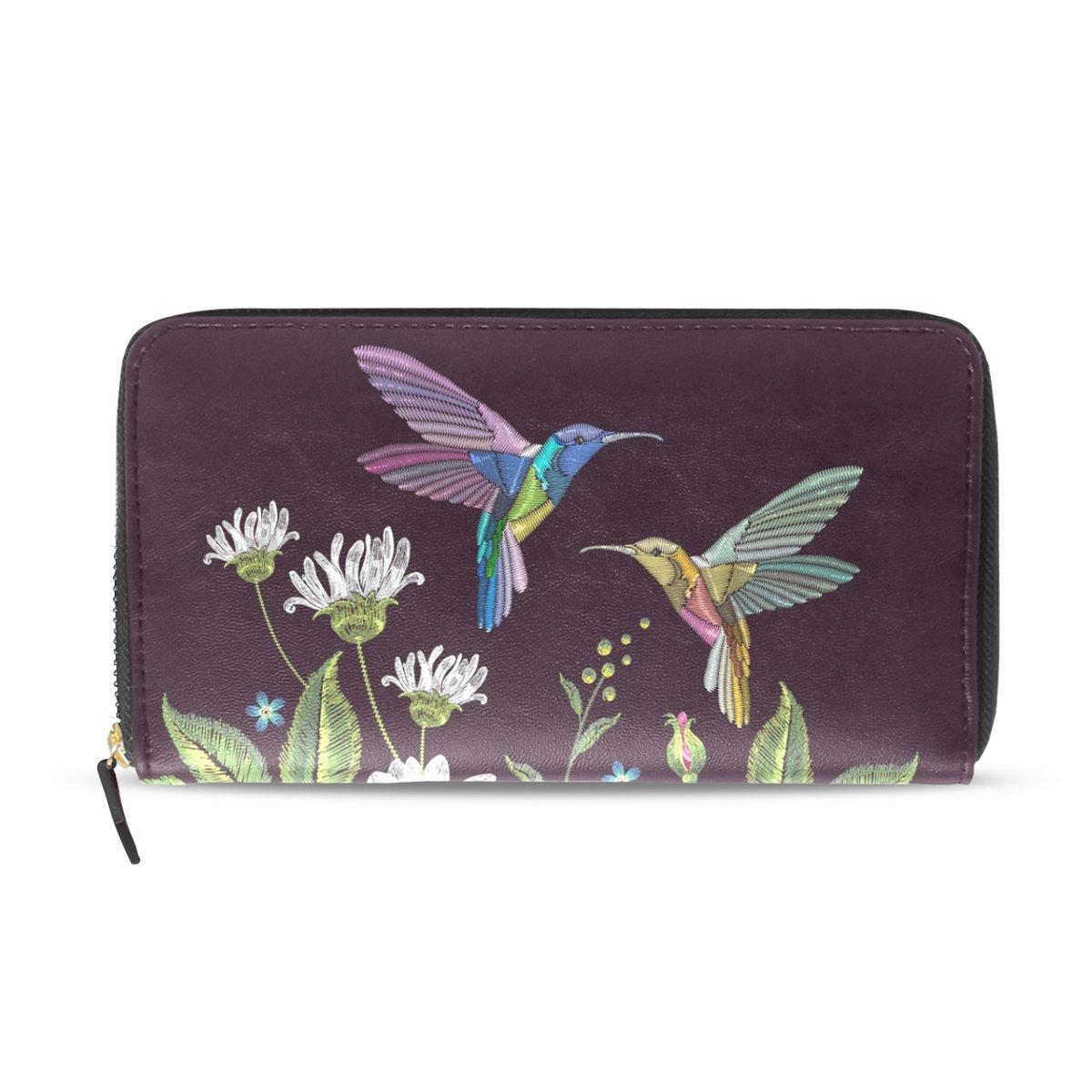 Womens Zipper Wallet Flower Leaf Hummingbirds Clutch Purse Card Holder Bag