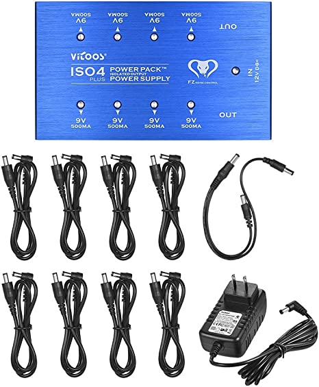 ammoon Guitar Effect Power Supply Station 8 Isolated DC Outputs 4-9V 9V 12V 18V with Power Cables Adapter