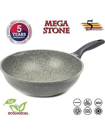 Oursson Sartén Wok Premium, 5 años de garantía, Mega Stone, Aluminio fundido,