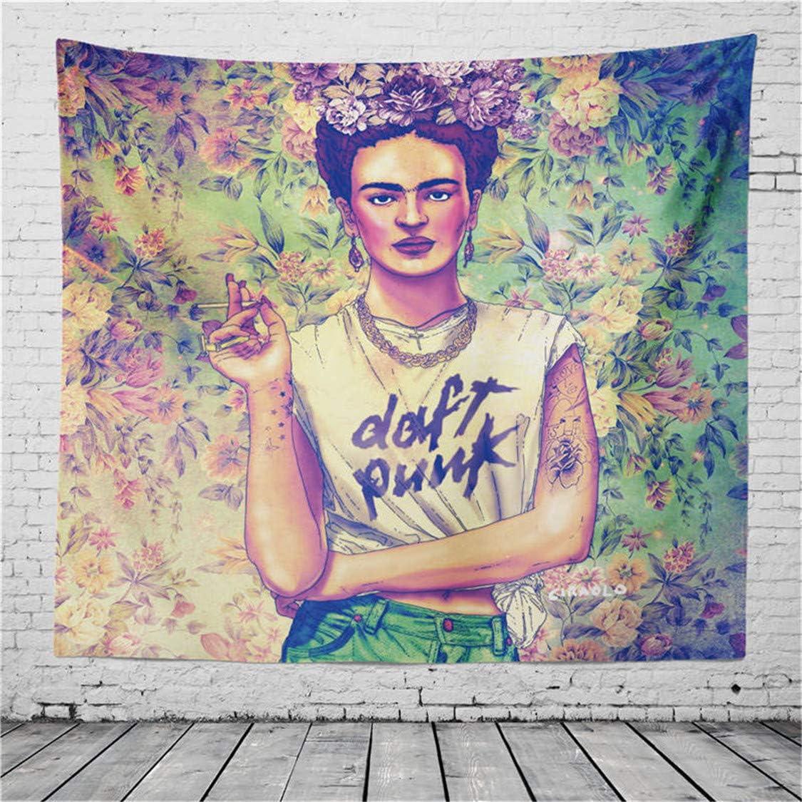 SK-PBB Frida Kahlo Et Tapisserie De Fleurs Les Femmes Fumantes avec Le Caf/é Mexico Femmes Peintre Mural Tapisserie Figure Portrait D/écor D/écor Dortoir 9, 208X235cm