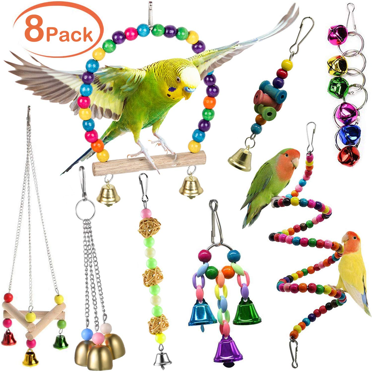Joso Bird Swing Toy Set, Parrot Bird Toys Pet Bird Cage Hanging Bell, Colorful Chowing Hanging Swing Hammock Toys for Parrots Parakeets Cockatiels Conures Love Birds Cages Decorative Accessories by Joso