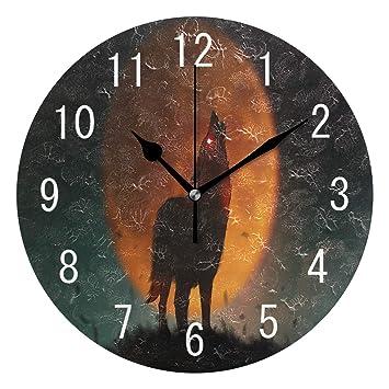 Use7 - Reloj de Pared Redondo de acrílico con diseño de Lobo Aullando y Luna Llena para salón, Cocina, Dormitorio: Amazon.es: Hogar