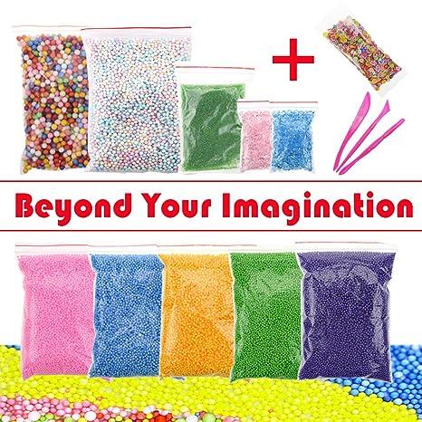 Perlas de espuma para Slime – Sensphi gran cantidad de cuentas de espuma para niños,