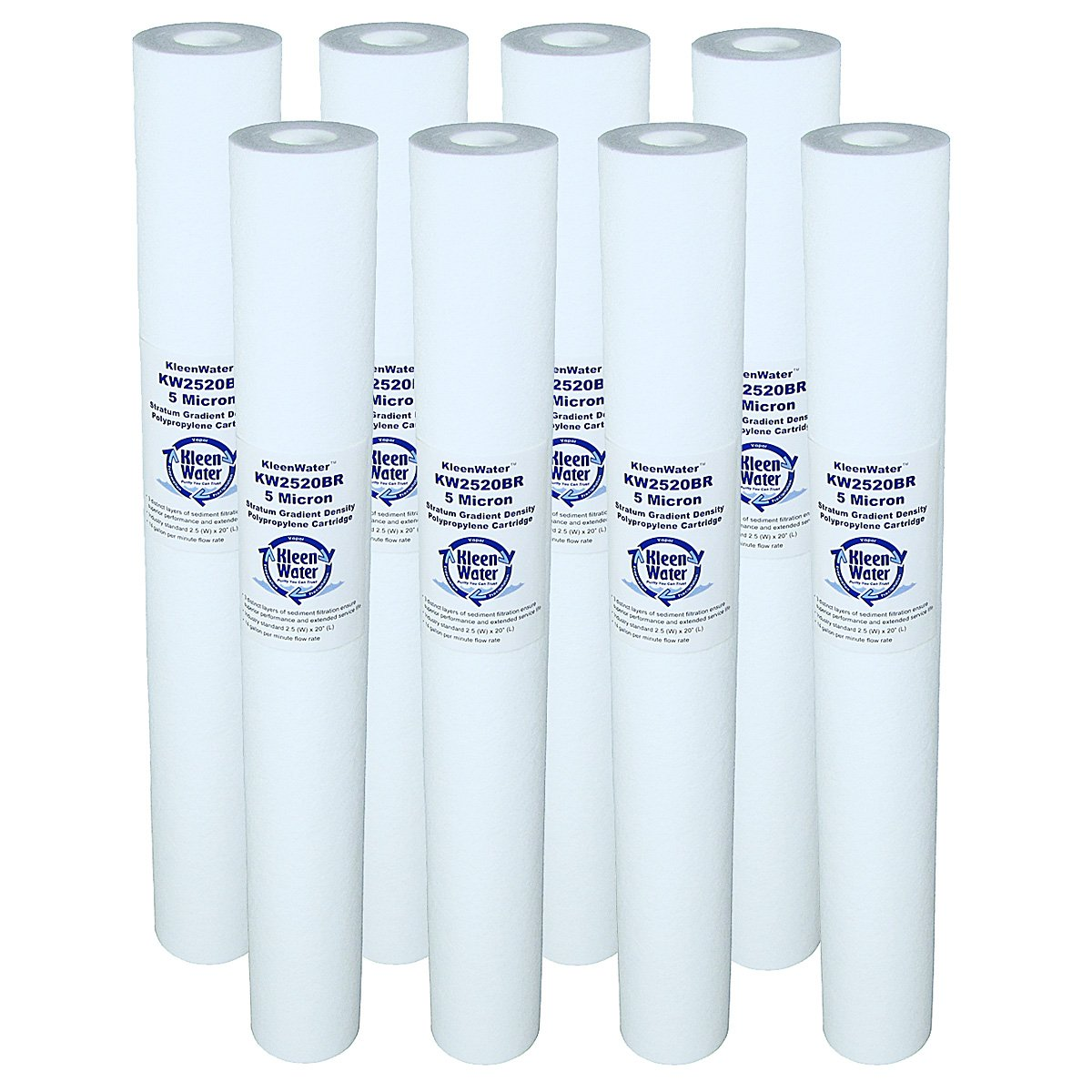 Dirt Rust Sediment Water Filter, KleenWater KW2520BR 2.5 x 20 inch Melt Blown Replacement Cartridges, 5 Micron, 8 Pack