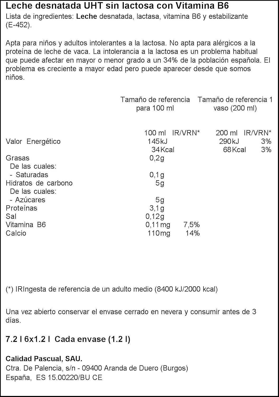 Pascual Leche Sin Lactosa Desnatada - Paquete de 6 x 1200 ml - Total: 7200 ml