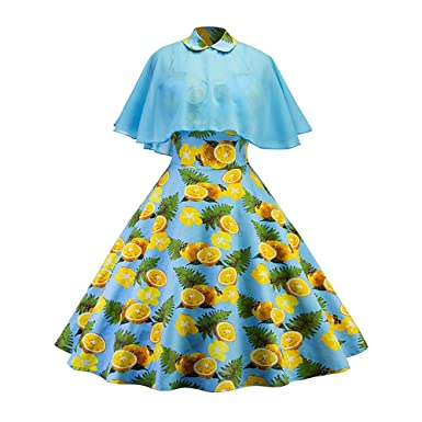 4fbe2a839f1cd CharMma Women's Vintage Peter Pan Collar Pin Up Dress With Sheer Mesh Cape  (Blue,