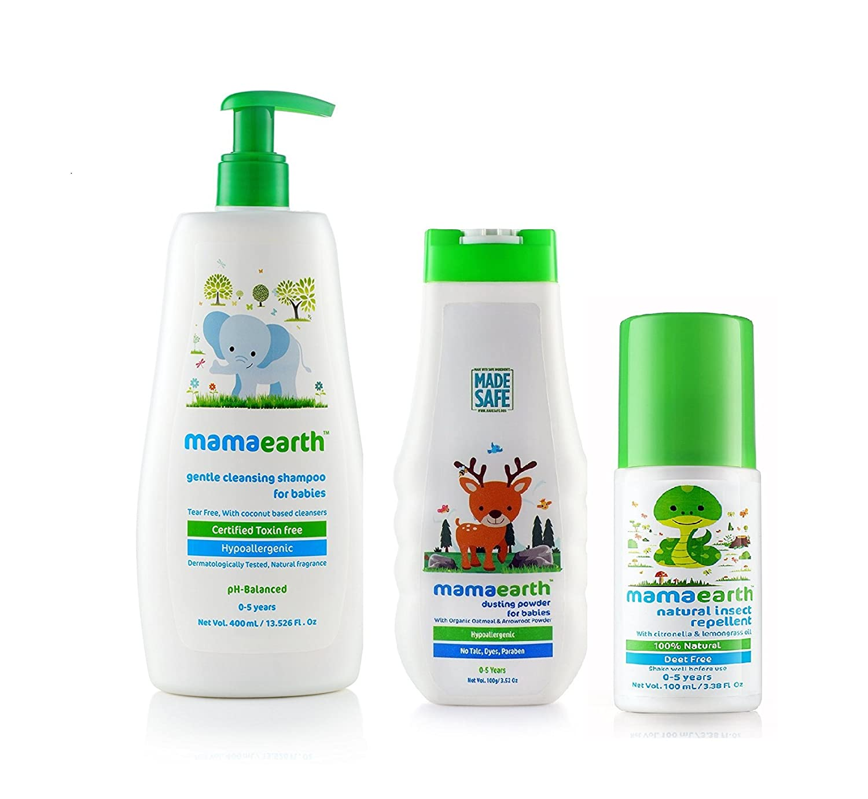 Mamaearth Baby Shampoo 400ml Baby Powder 100gm Baby Nurshing Hair Oil 100ml Combo Pack Amazon In Baby