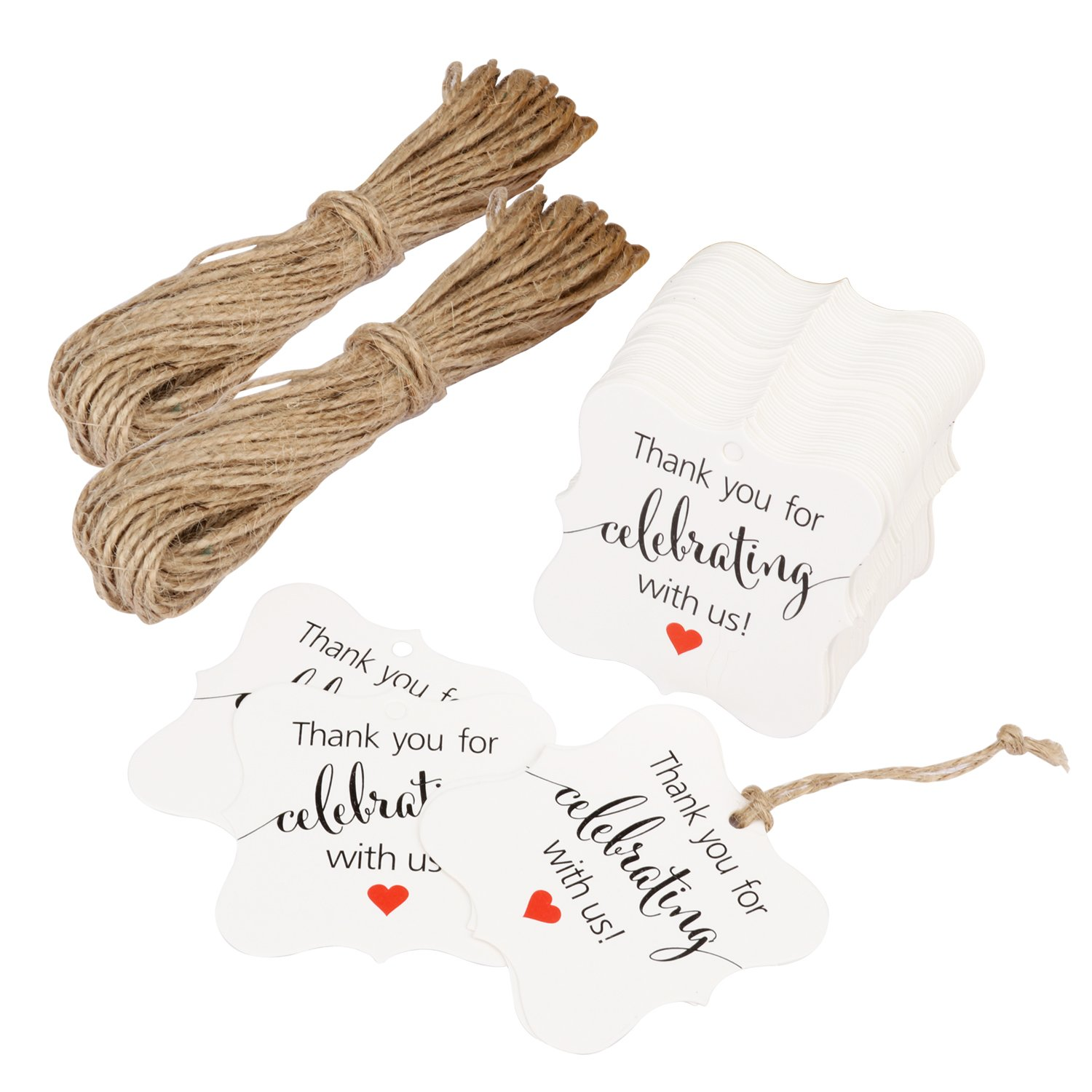 Aprince Paper Favor Gift Tags 100 PCS Thank You Tags Wedding Favor Gift Tags Thank You for Celebrating with Us White Square Tags with 20m Natural Jute Twine Perfect for Bridal Baby Shower Anniversary by Aprince (Image #8)