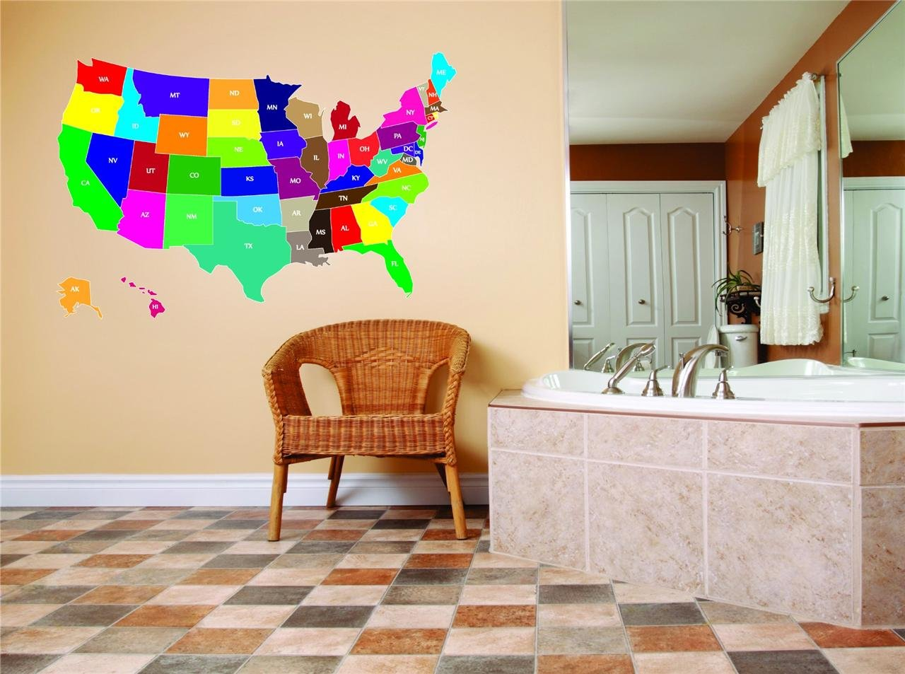 United States Map Of All 52 States USA North America Kids Boy Girl Bedroom Playroom School Vinyl Wall Decal Home Decor Graphic Design Image Picture Art Mural Peel & Stick Sticker 15x10