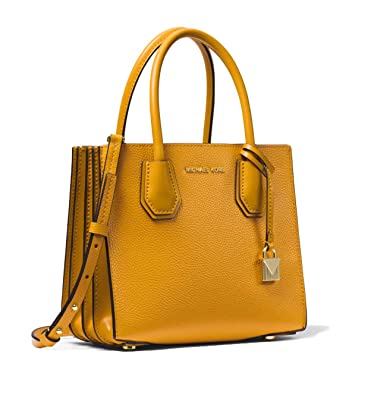ec495bff2fb0 MICHAEL Michael Kors Mercer Pebbled Leather Accordion Crossbody - Marigold:  Handbags: Amazon.com