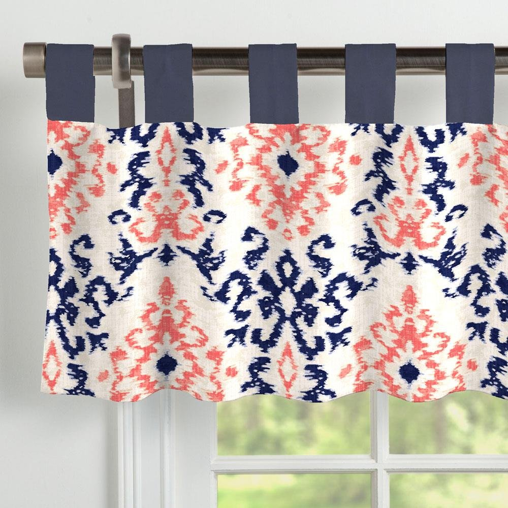Carousel Designs Navy and Coral Ikat Window Valance Tab-Top by Carousel Designs