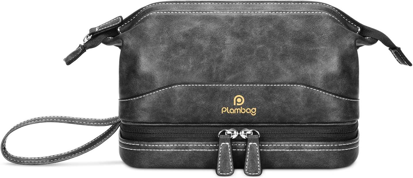 Plambag Travel Toiletry Bag Set, Multifunction Dopp Kit Shaving Bag Organizer Blueish Gray