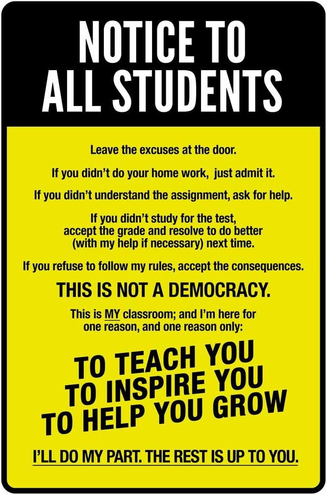 Classroom Sign Notice to All Students Warning Rules Teacher Supplies for Classroom School Decor Teaching Toddler Kids Elementary Learning Decorations Yellow Cool Wall Decor Art Print Poster 24x36