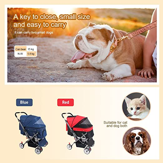 Amazon.com : IREENUO Pet cart Foldable for dog cats with four wheels and Storage Basket Face to face Possible front wheels 360 degree rotation Pet Stroller ...