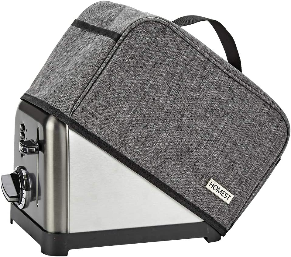 HOMEST Toaster Dust Cover with Pockets Compatible with Cuisinart 2 Slice Toaster, Can Hold Jam Spreader Knife & Toaster Tongs, Dust and Fingerprint Protection, Grey (Patent Design)