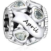 NINGAN Abalorio de plata de ley 925 con diseño de corazón y calado para pulseras y collares con circonita cúbica 5A…