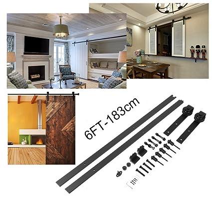 Homgrace 6FT-183cm Puerta de granero corredera de madera, puerta deslizante para baño,