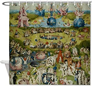 "VINMEA Decorative Fabric Shower Curtains with Hooks Garden of Earthly Delight Waterproof Decorative Bathroom 72""X72"""