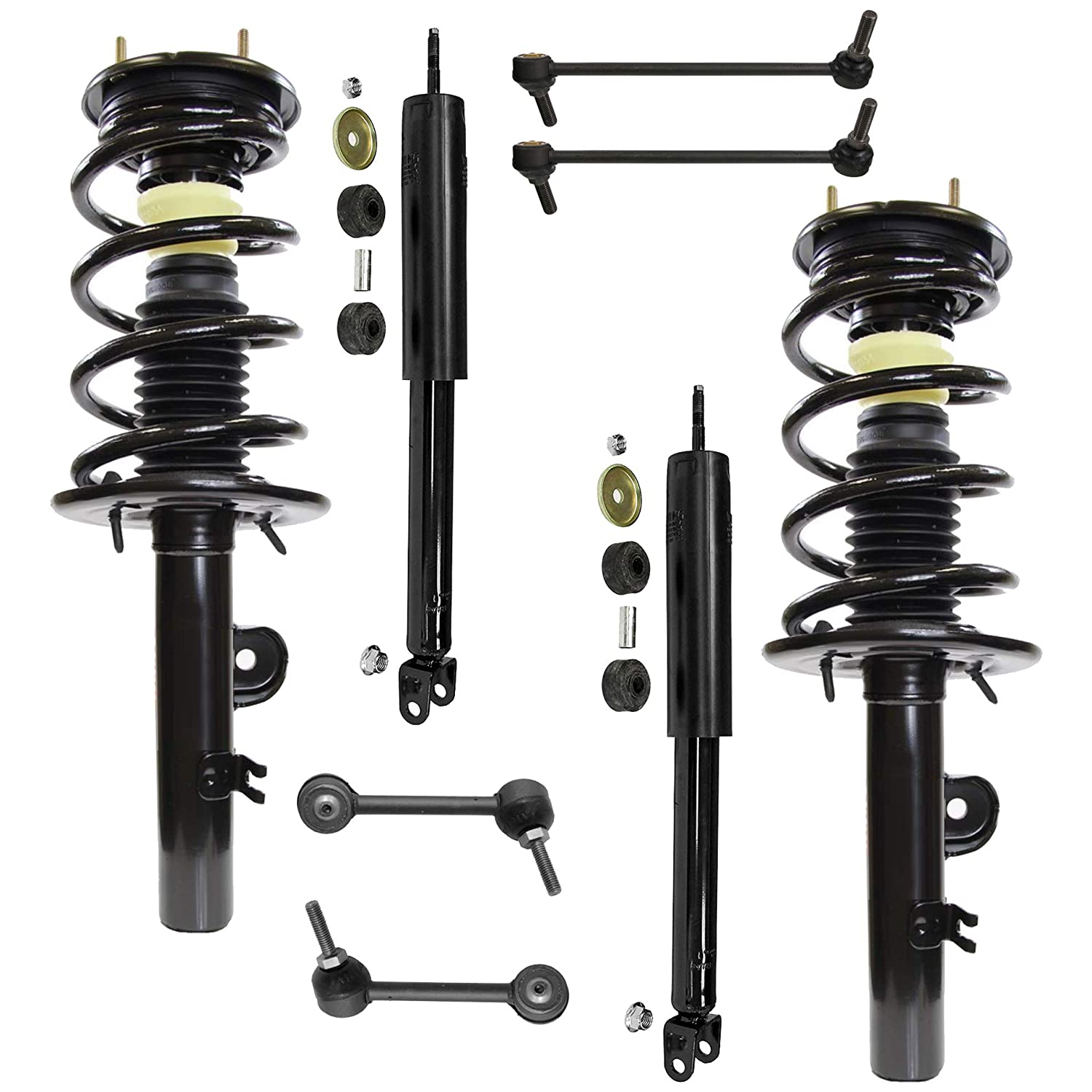 Detroit Axle 8PC Front Strut /& Coil Spring Assembly and Rear Shock Absorber Assembly w//Sway Bars for 2010 2011 2012 Ford Flex Naturally Aspirated Models