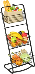 Market Basket Stand, GSlife 3 Tier Wire Fruit Basket Stand Floor Standing Storage Basket for Fruit Vegetable Produce Kitchen Countertop Pantry Bathroom Decor, Black