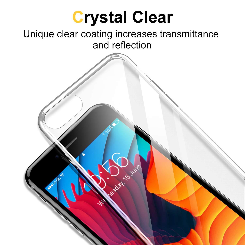 Humixx iPhone 8 Case, iPhone 7 Case, [Anti-Yellowing] Ultra Slim Clear  Cover Anti-fingerprint Anti-scratch Full Protective Soft Bumper Clear Case  Both