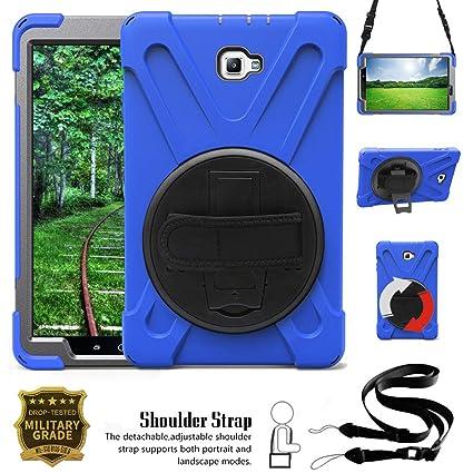 Junfire Hülle kompatibel für Samsung Galaxy Tab A 10.1, T580, T585 case mit 360 Grad drehbar mit Ständer, Handgurt und Schult