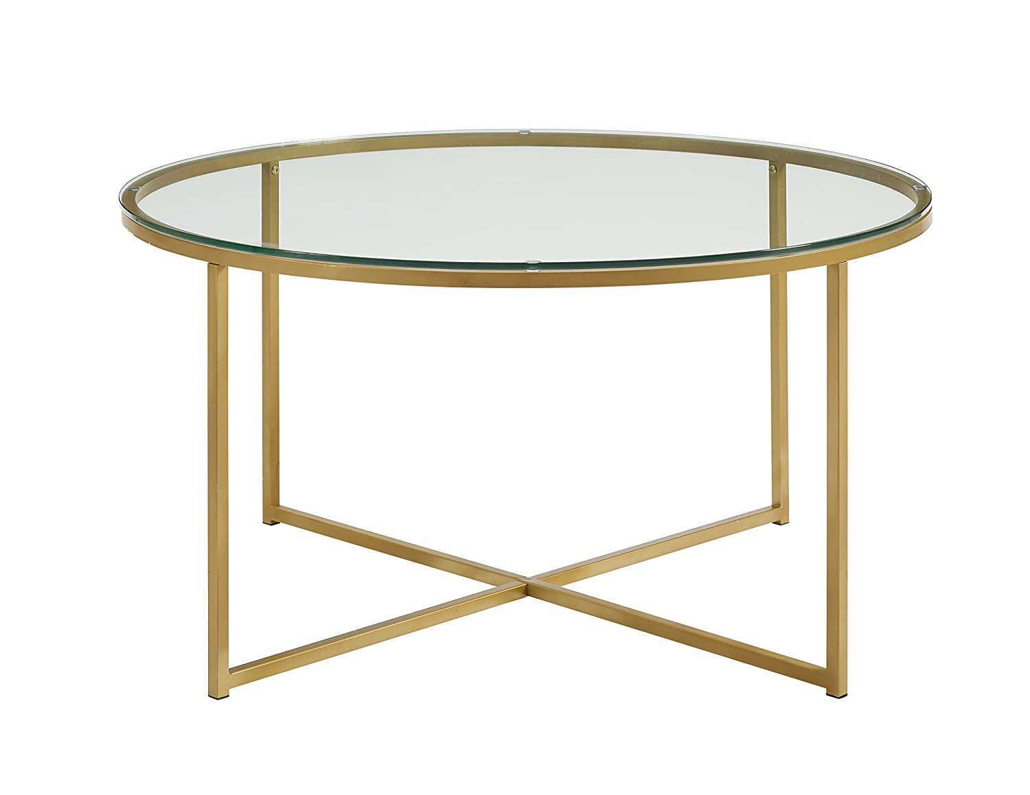 Amazon com furnituremaxx 36 glass gold finish coffee table with x base kitchen dining