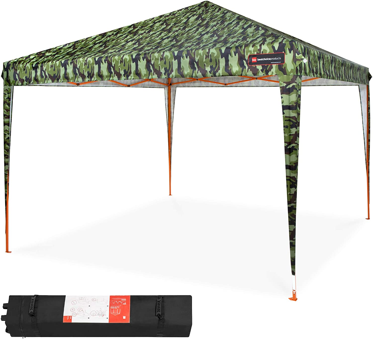 Best Choice Products 10x10ft Outdoor Portable Lightweight Folding Instant Pop Up Gazebo Canopy Shade Tent w/Adjustable Height, Wind Vent, Carrying Bag - Camo