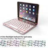 "iPad Mini 4 Keyboard Case BECEMURU 7-color Backlight Wireless Bluetooth Keyboard Muti-angle Stand Aluminium Alloy Folio Protective Case for 7.9"" iPad Mini 4 (rose gold)"