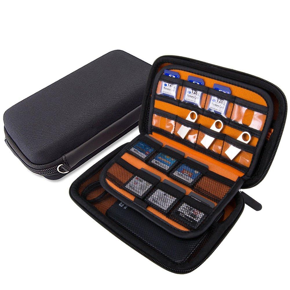 Wolven USB Flash Drive/Hard Drive/Game Consoles/Game Card EVA Waterproof Shockproof Hard Case Bag for Nintendo DS Lite/DSL / DSi / 3DS / 3DSXL - Black