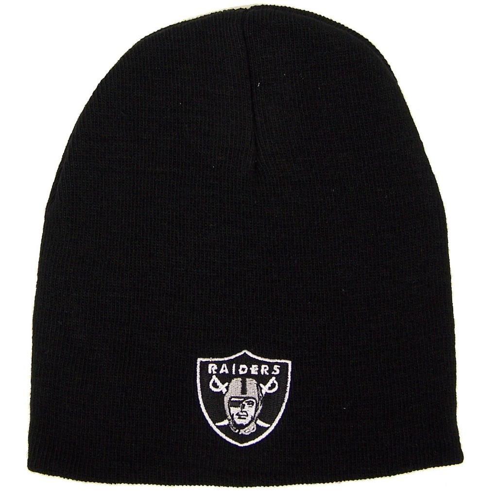 71d4e7ebd Oakland Raiders Uncuffed Embroidered Logo Winter Knit Beanie Hat - Black NFL