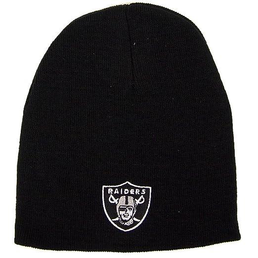 843e1a66 Reebok Oakland Raiders Uncuffed Embroidered Logo Winter Knit Beanie Hat -  Black