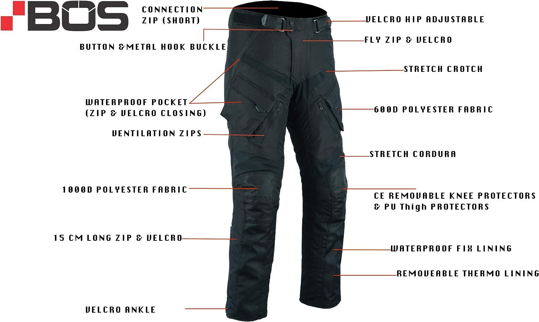 3XL, Grau BOS Sportliche Motorrad Hose Motorradhose Schwarz mit Oberschenkeltaschen