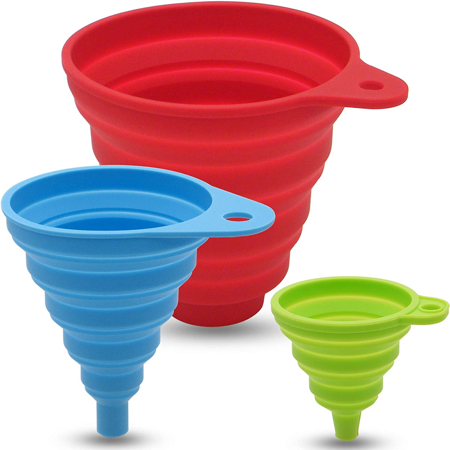 3 Sizes of Kitchen Funnel Set, Food Grade Funnels for Filling Bottles, Premium Silicone Collapsible Funnel for Transferring Liquid, Powder Transfer, Large Wide Mouth Canning Funnel, Small Funnel