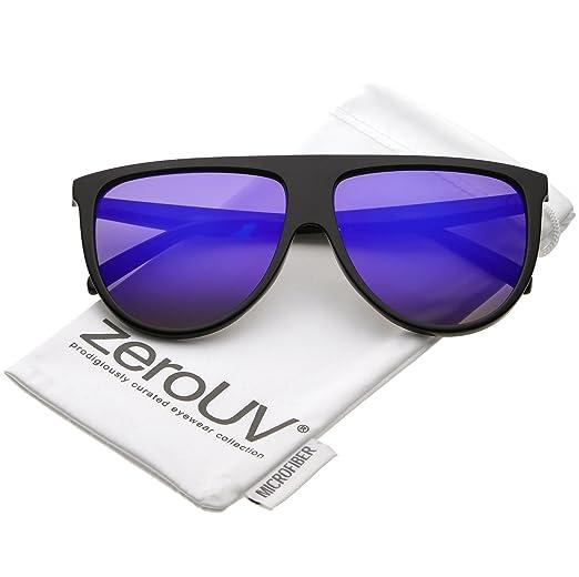 712e646b93f zeroUV - Oversize Modern Flat Top Color Mirrored Flat Lens Aviator  Sunglasses 59mm (Black