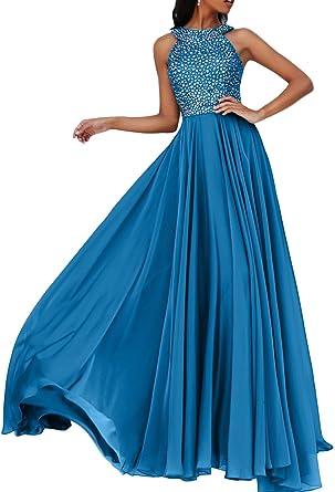 Gorgeous Bride Luxury A-Linie Chiffon Kristall Abendkleider Lang  Festkleider Ballkleider -32 Blau