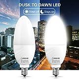 LOHAS E12 Candelabra LED Bulb, Dusk to Dawn Light Sensor Light Bulbs, 6W(60W Equivalent), Daylight White 5000K, Candelabra Base, Porch Driveway Security Light LED Candle Bulb, Not Dimmable, 2 Pack