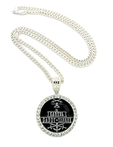 New Iced Out Cartel Daddy Yankee Pendant 36 Cuban Link Chain