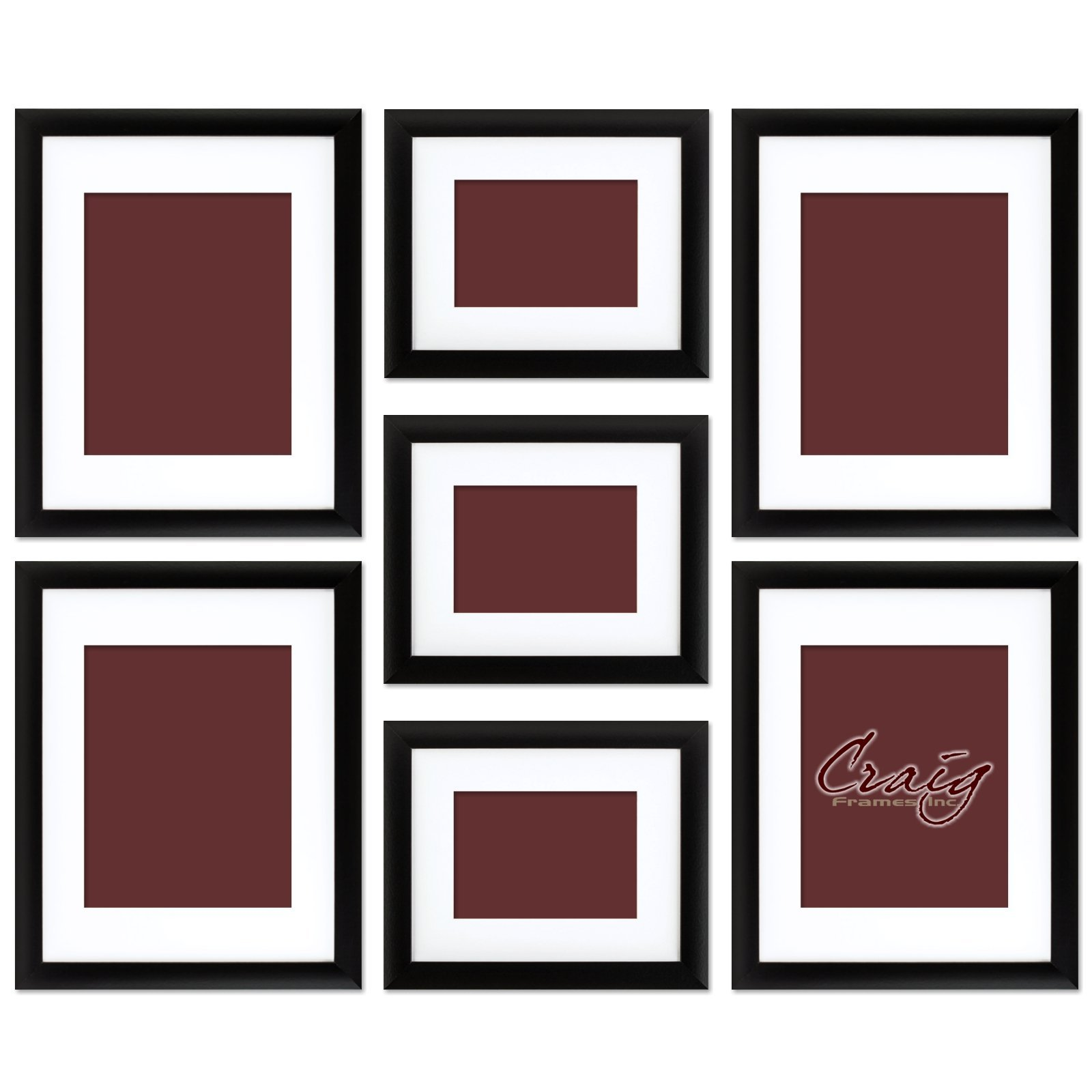 Craig Frames 1WB3BK Picture Frame 7-Piece Wall Set, Black Frames, White Display Mats by Craig Frames