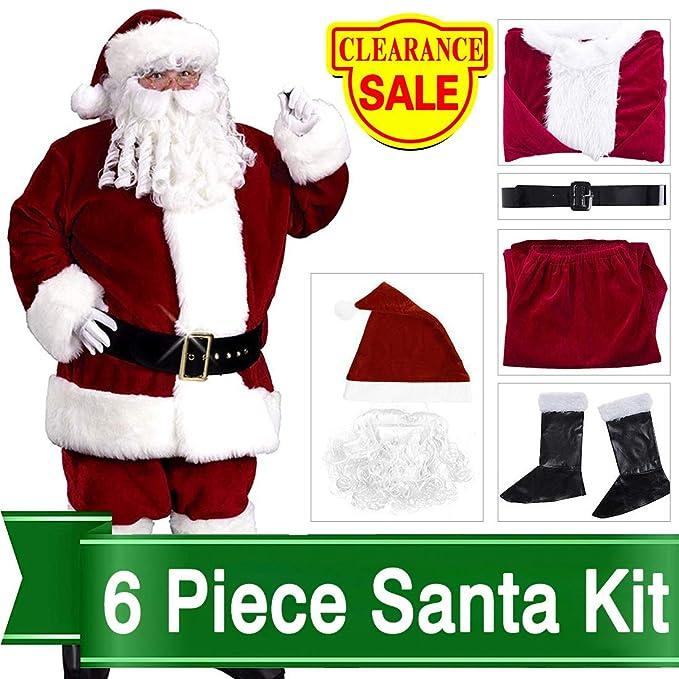 f0a35c1de86 Amazon.com  Christmas Santa Claus Costume Set Men Santa Costume Women  Deluxe Santa Suits  Clothing