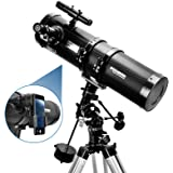 Telescope, Polaris 130EQ Newtonian Professional Astronomical Reflector Telescope Comes with Cellphone Adapter with 1.5X Barlo