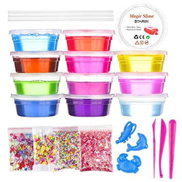 DIY Slime Making Kit Slime Kids Toys Children Educational Toys, 12 Color Clear Crystal Slime