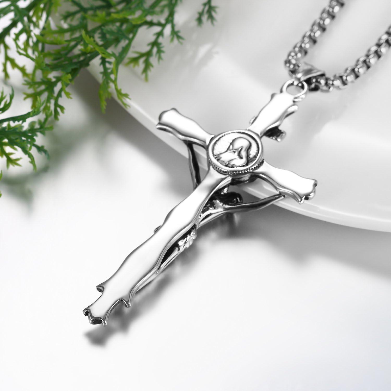 H+C J/ésus Christ Croix Crucifix Pendentif Collier Unisexe pour lhomme Femmes avec 60CM Cha/îne Couleur Argent Acier