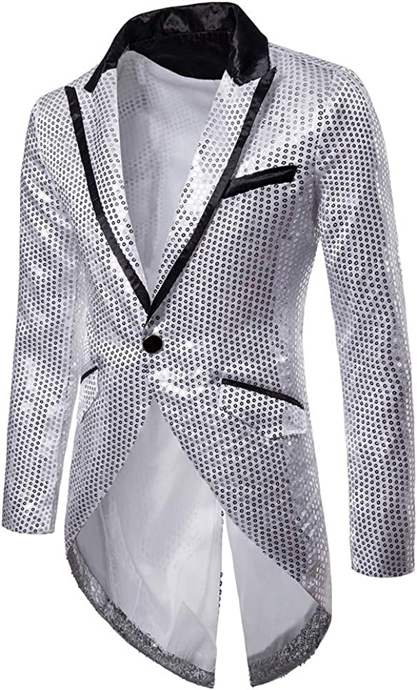 Party Banquet Prom Frecoccialo Mens Jacket Sequins Slim Fit Blazer One Button Tuxedo Lightweight Long Sleeve Shiny Coats for Ceremony