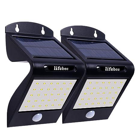 Luces de pared con sensor de movimiento solar, LifeBee 32 LED Luces de seguridad con