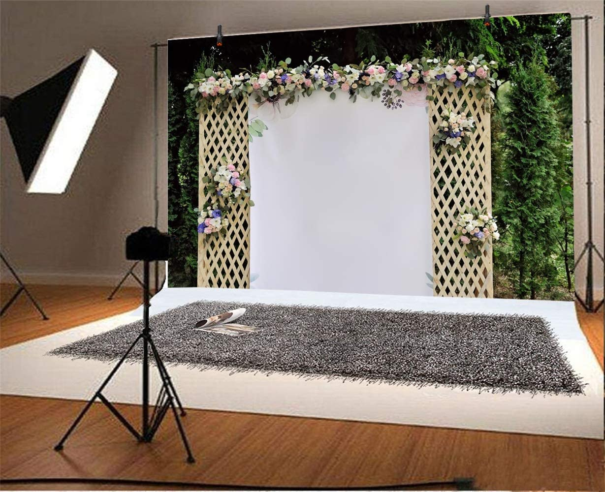 Romantic Outdoor Floral Wedding Trellis Backdrop 10x6.5ft Polyester Flowers White Photo Booth in The Woods Scene Background Wedding Shoot Bridal Shower Bride Groom Portrait Shoot