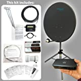 Satgear HD 80cm Portable Satellite Dish Kit with Tripod and HD Receiver for Caravan/Camping - Dark Grey