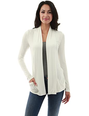 93fbe97ead5 PattyBoutik Women s Open Front Pockets Cardigan (Ivory ...